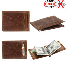 New Genuine Leather Men's RFID Slim Credit Card Holder Money Clip Magic Wallet