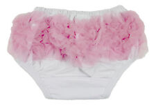 White Diaper Cover with Light Pink Ruffles