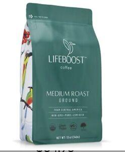 Lifeboost Coffee Ground Medium Roast Coffee - Low Acid USDA Organic Non GMO