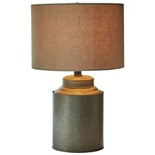 Modern Farmhouse Jug Table Lamp with Led Bulb Vintage Industrial Fabric Shade