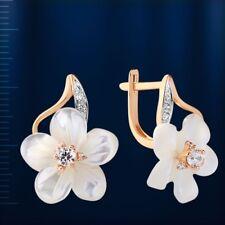 Ohrschmuck mit Perlmutt & CZ Rotgold Blume Flower Ohrringe Gold 585 gestemelt