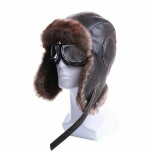 Faux Leather Bomber Hat With Goggles Unisex Trapper Aviator Pilot Earflap Hats