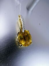 925 Silver Gold Vermeil Pretty Citrine  Pendant, NEW.