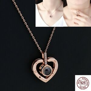 S925 Projection Necklace with Box for Women Valentine's Day Christmas