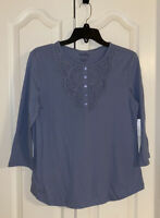 New Womens Coral Bay Blue Embroidered 3/4 Sleeve Shirt Size S Small Blouse Top