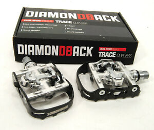 Diamondback Trace Dual Flat Platform&Clipless SPD Bicycle Pedals WITH CLEATS