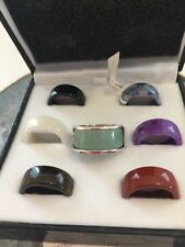 Sterling Silver 7 Pieces Multicolor Jade Interchangeable Band Rings Set NEW
