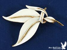 Vintage SIGNED B.S.K. Cream Enamel Leaf Scarf Lapel Pin Brooch MID CENTURY