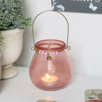 Pink Glass Tealight Candle Holder home decor accessories wedding table gift boho