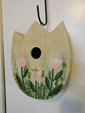 New Tulip Shaped Wood Bird House Decoration