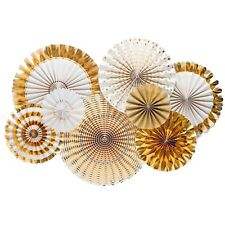 Gold Paper Foil Fan Decorations Pack of 8 Party Wedding Christmas Supplies