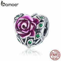 BAMOER Heart s925 sterling silver charms Rose love Flower with CZ Fit bracelet