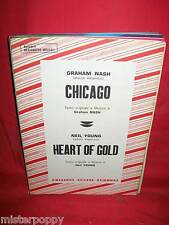 NEIL YOUNG Heart of Gold + GRAHAM NASH Chicago 1972 Sheet Music BEAT