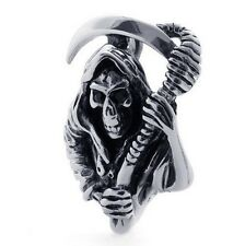 Necklace Reaper Ghost Skull Gothic Pewter Collier Etain Faucheuse Dark Gothique