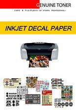 2 fogli A4 - Waterslide decal paper, Carta decalco INKJET senza cover-coating