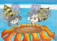 Sheep Bumble Bees lamb Bugs aceo EBSQ Kim Loberg Fantasy insect Mini Art Flower