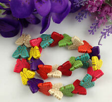 1 Strand of 26PCS Mixed Colours Howlite Turquoise Butterfly Beads #22754