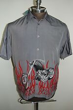 Nwt Red Herring London Motorcycle & Flame Biker Camp Shirt Men's Lg