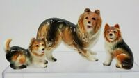 Vintage Dog Ceramic Figurine Collie Mom & Puppies Set Of 3