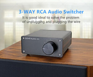 Premium 3 to 1 Out RCA Switch Passive Stereo Signal Selector Audio Splitter