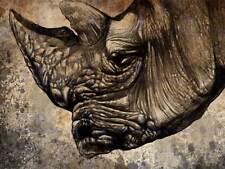 Peinture illustration animal Nuture rhinocéros rhino head art imprimé MP5149B
