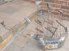 Vtg Iron Ship-Mid Century Metal Art-Viking Ship Sculpture-Trench Outsider Lawn