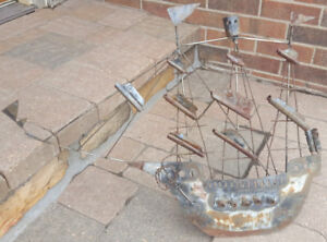 Vtg Iron Ship-Mid Century Metal Art-Viking Ship Sculpture-Trench Outsider Lawn