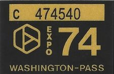 1974 WASHINGTON Vinyl Sticker Decal -CAR/Passenger License Plate Reg.TAB TAG-New