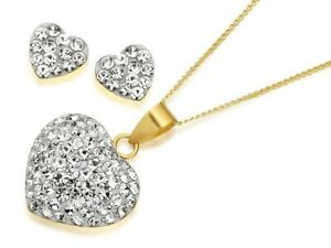 F.Hinds Womens Jewellery 9Ct Yellow Gold Crystal Heart Pendant Earring Gift Set