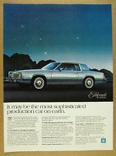 1980 Cadillac Eldorado Biarritz blue car color photo vintage print Ad