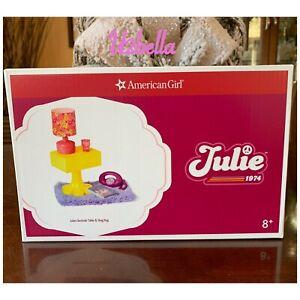 American Girl Julie Bedside Table & Shag Rug New In BOX