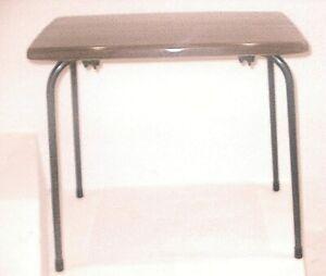 RETRO/VINTAGE JAPANESE WALNUT EFFECT COFFEE TABLE WITH BLACK TUBULAR LEGS