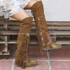 Fashion Women Tassel Knee High Boots Buckle Strap Round Toe Suede Shoes Oversize