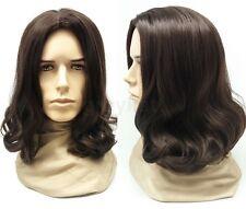 "Mens Brown #6 Long Hair Wig Hippie Grunge Jesus Synthetic Costume 14"""