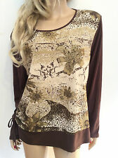 SOUTH LODGE Plus Size 18 20 Simply Fab Brown Cream Tie Sides Stretchy TOP