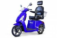 New E-Wheels 3 Wheel Elite Power Scooter with Electromagnetic Brakes - Blue