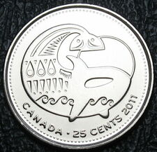 UNC CANADA 2x25¢ Coloured 2011 Plain *ORCA WHALE* Wildlife Quarters