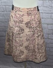 Tracy Reese 6 Pink Black Print Lined High Low Silk Skirt