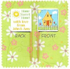 20 PERSONALISED NEW HOME CUP CAKE FLAG House Party Pick Food Topper Decoration