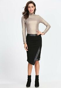 Womens Black Leather & Suede Pencil Skirt Wrap Around Over Sarong Ladies Bodycon
