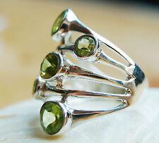 Silberring 56 Handarbeit Peridot Grün Silber Echt Breit Ring Wrap Band Modern
