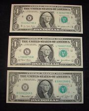 1977 + 2003 + 1974 - FEDERAL RESERVE -  $1 NOTES  GREEN SEAL - UNCIRCULATED