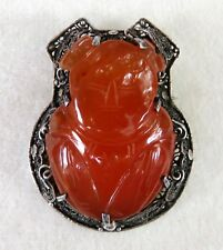 VINTAGE CARVED CHINESE CARNELIAN & SILVER BROOCH~LAN CAIHE IMMORTAL~PERFECT
