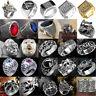 Stainless Steel Steam Men Punk Ring Gothic Rings Cool Skull Men's Jewelry
