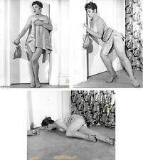 RUSSELL GAY Pin-up dans sa serviette 3 photographies originale Vintage 1958 #143