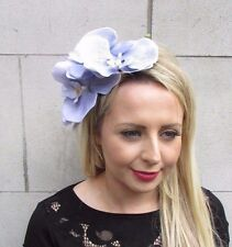 Large Lilac Grey Purple Orchid Flower Fascinator Headpiece Headband Hair 3620