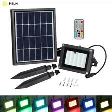 10W RGB Solar Power LED Spotlight Outdoor Garden Remote Security Floodlight IP65