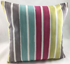 Dusky Pink, Duck Egg, Olive, White & Grey Stripes Evans Lichfield Cushion Cover