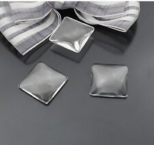 20pcs Square Clear Transparent Domed Magnifying Glass Cabochon Cover 20mm