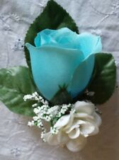 3  Rose Boutonniere*Corsage*light Blue  turquoise coral Groom Prom *Quinceanera